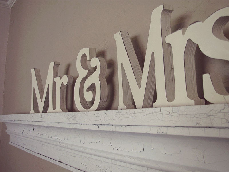 Mr And Mrs Wedding Decor Wooden Letters By VintageShore