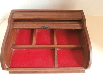 Roll Top Desk Accessory Or Jewelry Box Circa 1930s