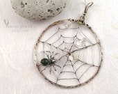RESERVED Sterling Silver Spider Web Pendant