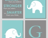 "Teal and Gray Modern Nursery Set - Always Remember You are Braver - Initial/Monogram - Elephant Prints - Set of four 8""x10""s"