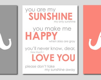 "Gray and Coral Nursery Modern Nursery Prints Elephant Silhouettes and You are my Sunshine- Art for Nursery - Set of three 8""x10"" prints"