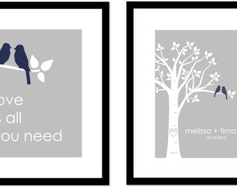 Personalized Custom Love Bird Wedding Family Tree - Custom Wedding Gift - Love is All You Need - Set of 2 prints- 8x10s