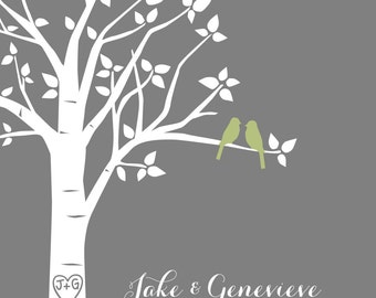 "Personalized Wedding Gift Paper First Anniversary Family Tree Print -  Personalized Custom Love Birds Wedding Tree - 8""x10"" (Olive/Gray)"