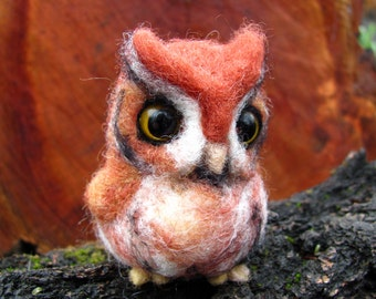 Needle felted owl Red Screech owl
