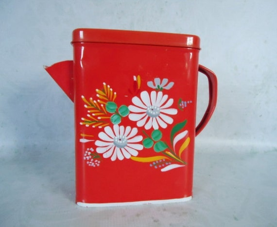 Red tole painted ransburg soap canister by swirlingorange11 - Soap flakes dispenser where to buy ...