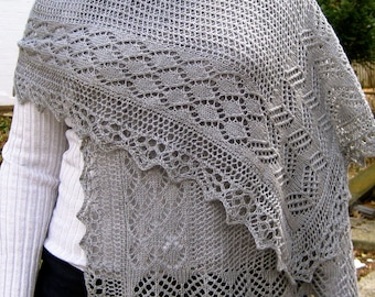 Knit Wrap Pattern:  Diamond Sampler Lace Shawl Knitting Pattern