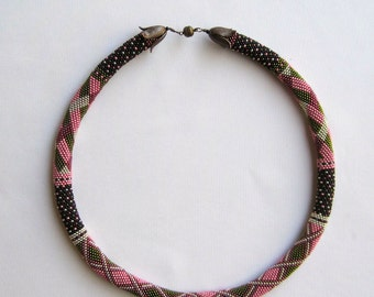 Bead Crochet Necklace Pattern:  Colorblock Sampler Bead Crochet Necklace