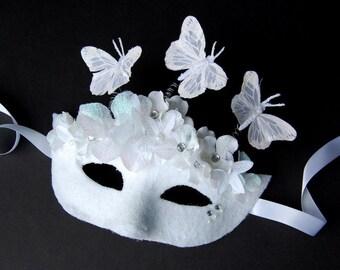 MASK- Winter Takes Flight- masquerade mask, Mardi Gras, Halloween, Fairy,Venetian