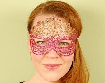 SHEER MASK- Copper and Pink Tourmaline Princess- masquerade mask, Mardi Gras, ballroom, fairy, Venetian, Halloween, tattoo