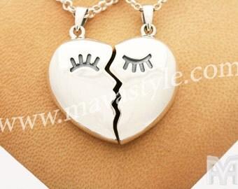 Sterling Silver Heart Kissers Pendant