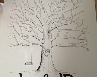 Wedding Guestbook Fingerprint Tree (large)