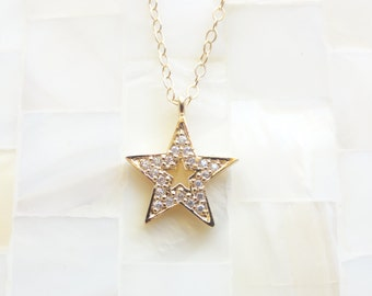 Gold CZ Star Pendant on Gold Chain Necklace (N1625)