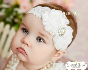 White baby Headband, shabby chic headband, christening headband, baptism Headband,Lace  Headband, girl headband, baby bows, Hair bows, # 22