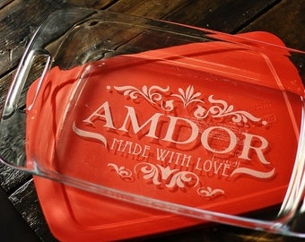 Engraved Personalized Pyrex Glass Casserole Dish with Lid  9 x 13