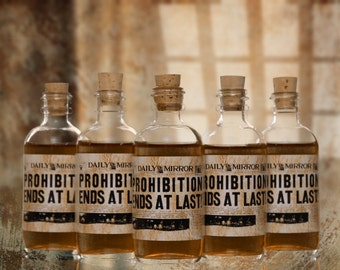 10 Prohibition Cork Glass Bottles for Wedding Favors Empty Bottles 1920s Speakeasy