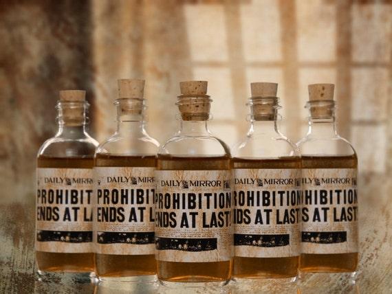 10 Prohibition Cork Glass Bottles For Wedding Favors Empty