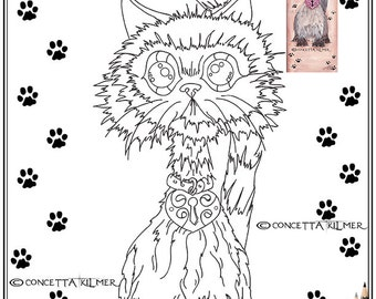 The Happy Himalayan - Cat Art - Digi / Printable Download PDF Coloring Page - Concetta Kilmer