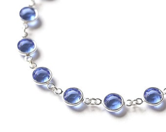 Sapphire Bracelet, September Birthstone Jewelry, Sapphire Blue Jewelry, Crystal, Silver, September Birthstone Bracelet