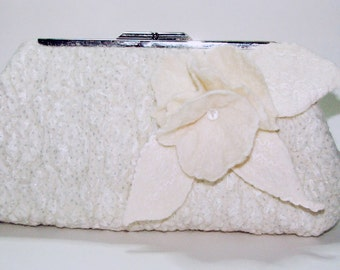 Wedding clutch , Purse bag for special occasion, Ivory wedding felted merino wool clutch
