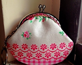 Free Shipping - Little Coin Purse with pink lace and rose