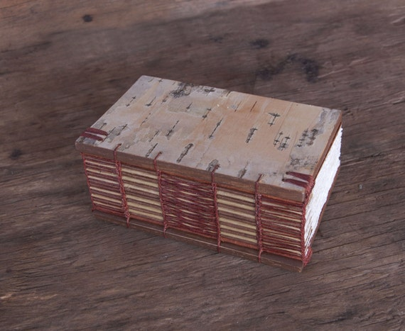 rustic handmade journal  wood book - birch bark - brown small autumn woodland rust - ready to ship