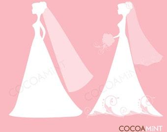 Elegant Silhouette Brides Set 2 Clip Art