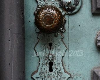 Blue Antique Door Knob 8x12 Fine Art Print Photograph - Old - Rustic -Scroll - Key hole