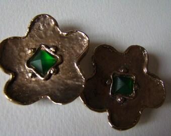 YSL Yves Saint Laurent Rive Gauche Silver Flower Earrings