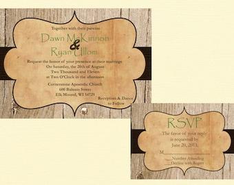 Custom Rustic Wedding Invitation, Vintage Wedding Invitation, Western Wedding Invitation