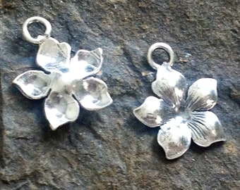Sterling Silver Starflower Charms  - Small Plumeria Pendants C101