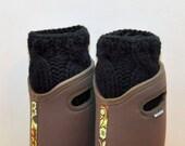 BOOT CUFFS Socks Leg Warmers  Cabled Cozy Knit  Black Barn Farm Rainboots UGGs Gift under 50