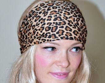 Leopard Headband Hair Wrap Animal Print Headwrap Women Headband Jaguar Cheetah Hair Scarf Yoga Bandana Stretch Jersey Gift under 25