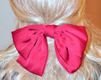 Big Bow Barrette Women Red Bow Barrette Hair CHOOSE COLOR Red Bow Girly Cute Mothers Day Gift under 25