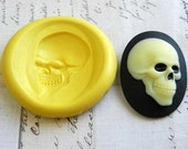 SKULL CAMEO (side view) - 40mm x 30mm - Flexible Silicone Mold - Push Mold, Jewelry Mold, Polymer Clay Mold, Resin Mold, Craft Mold