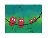 Owls on a Branch Art Print - Colorful Owl Nursery Art