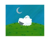 Lamb Nursery Print - Sheep, Shamrock, Moon, & Stars