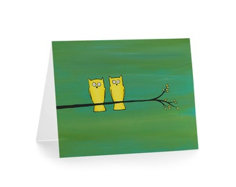 Owls on a Branch Greeting Card