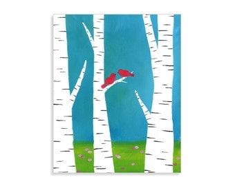 "Birch Tree & Red Birds Print - ""Friends in the Birch Woods"""