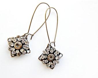 Art Deco Earrings - Bridal Earrings - Brass Rhinestone Earrings - Wedding Earrings - Vintage Earrings