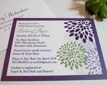 Shimmer Metallic or Matte backing Dark Purple Violette Violet Sage Green Crystal Wedding Bridal Shower Invitations Invitation Invites Invite
