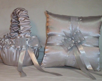 Silver Satin With Silver Ribbon Trim Flower Girl Basket And Ring Bearer Pillow Set 2