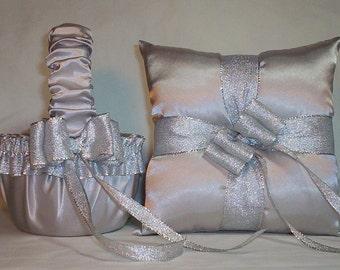 Silver Satin With Silver Metalic Ribbon Trim Flower Girl Basket And Ring Bearer Pillow Set 3