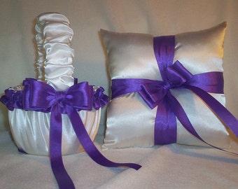 White Satin With Purple Satin Ribbon Trim Flower Girl Basket And Ring Bearer Pillow