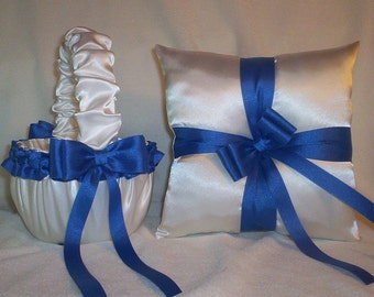 White Satin With Horizon Blue (Royal Blue) Ribbon Trim Flower Girl Basket And Ring Bearer Pillow