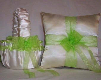 Ivory Cream Satin With Apple Green (Lime) Ribbon Trim Flower Girl Basket And Ring Bearer Pillow Set 1