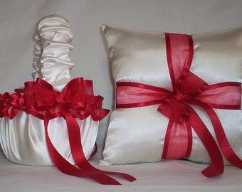 Ivory Cream Satin With Red  Ribbon Trim Flower Girl Basket And Ring Bearer Pillow Set 2