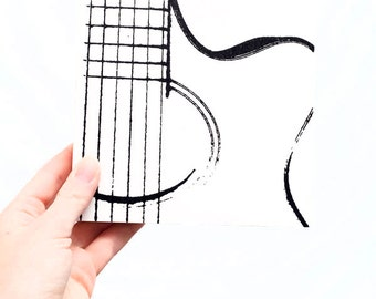 Music Wall Art: Acoustic Guitar on Wood (6 x 6 inches, Black and White) Screen Print & Painting, Musical Instrument Home Decor