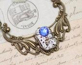 Statement Necklace Blue Necklace Steampunk Necklace Sapphire Necklace Steam Punk Jewelry Unique Necklace OOAK Sapphire Blue - Antique Brass