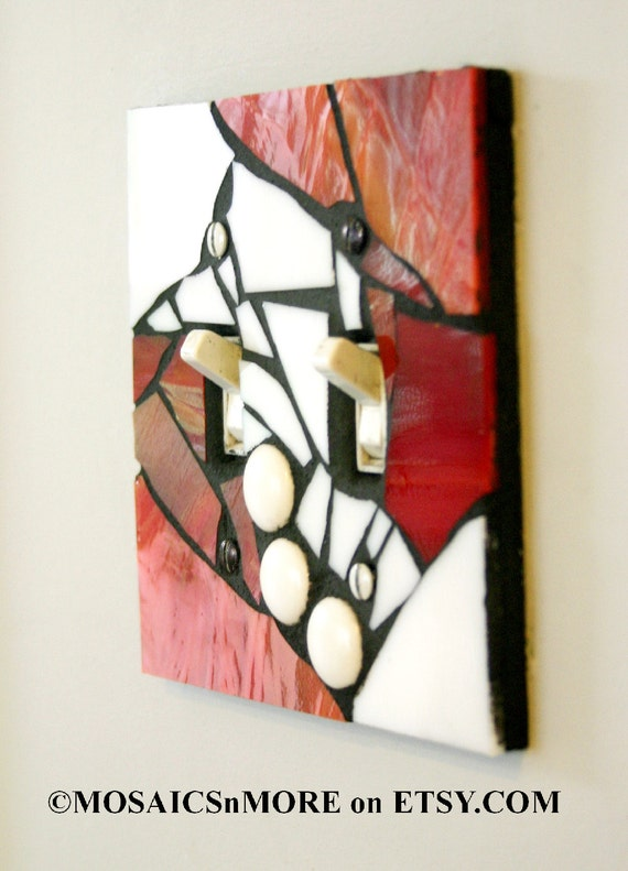 Red and White  - DOUBLE Mosaic Light Switch Cover Wall Plate
