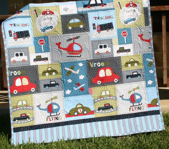 Vroom baby boy quilt toddler vehicles trucks by for Little blue truck fabric